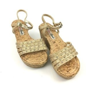 2 Lips Too Strappy Faux Cork Wedge Sandals Size 8